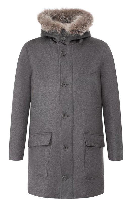 Кашемировое пальто с меховой отделкой Herno