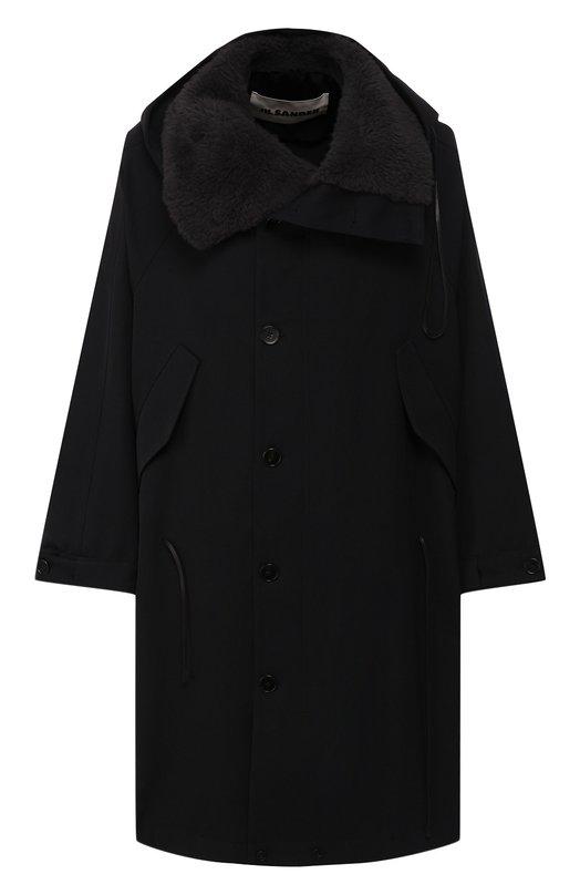 Шерстяное пальто с меховой отделкой Jil Sander