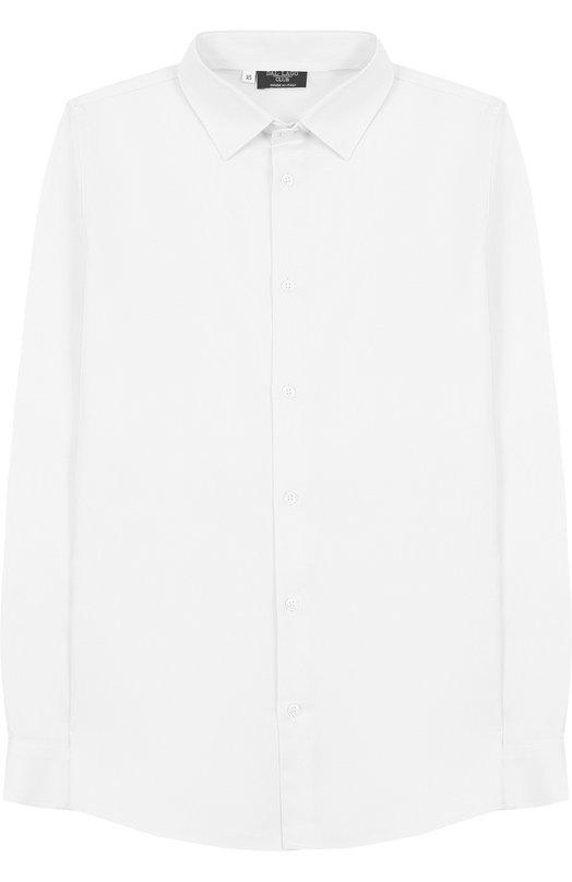 Хлопковая рубашка с воротником кент Dal LagoРубашки<br>Мастера марки, основанной Джорджио Даль Лаго, изготовили белую приталенную рубашку с длинными рукавами из мягкого плотного хлопка. Наши стилисты рекомендуют сочетать с брюками и школьным пиджаком.<br><br>Размер Years: 4<br>Пол: Мужской<br>Возраст: Детский<br>Размер производителя vendor: 104-110cm<br>Материал: Хлопок: 100%;<br>Цвет: Белый