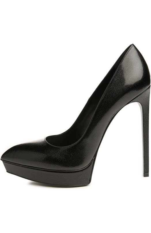 Туфли Janis Saint LaurentТуфли<br>Элегантные туфли Janis из классической коллекции бренда, основанного Ивом Сен-Лораном, выполнены из мелкозернистой кожи черного цвета. Модель с острым мысом, на небольшой платформе и высоком каблуке, обтянутом кожей.<br><br>Российский размер RU: 38<br>Пол: Женский<br>Возраст: Взрослый<br>Размер производителя vendor: 38<br>Материал: Кожа натуральная: 100%; Стелька-кожа: 100%; Подошва-кожа: 100%;<br>Цвет: Черный