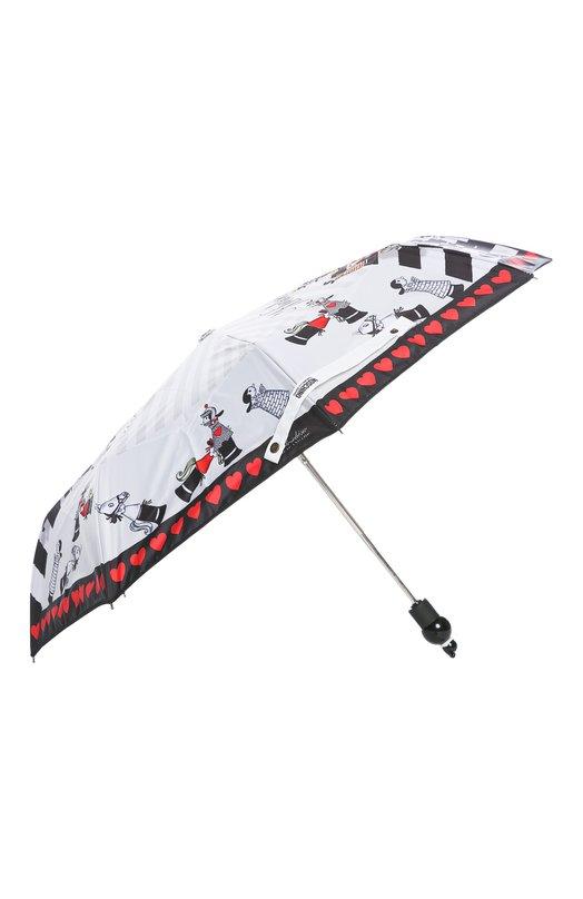 Зонт MoschinoЗонты<br>Разноцветный зонт украшен принтом в виде сердец и шахматных фигур, выполненных в ироничном стиле, характерном для бренда, основанного Франко Москино. Дизайнер марки дополнил аксессуар круглой черно-белой ручкой.<br><br>Пол: Женский<br>Возраст: Взрослый<br>Размер производителя vendor: NS<br>Материал: Полиэстер: 100%;<br>Цвет: Разноцветный