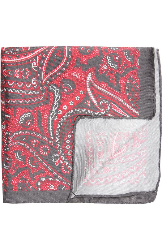 Платок EtonПлатки<br>Аксессуар произведен мастерами бренда вручную из красного структурированного шелка с контрастным серым принтом пейсли. Края обработаны по технологии hand-rolled.<br><br>Пол: Мужской<br>Возраст: Взрослый<br>Размер производителя vendor: NS<br>Материал: Шелк: 100%;<br>Цвет: Красный