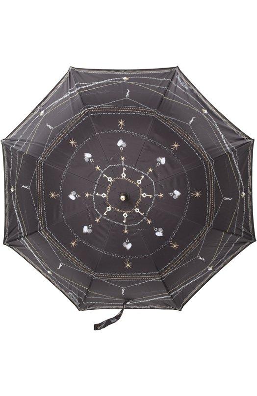 Зонт MoschinoЗонты<br>Черный зонт-трость со стальным каркасом и изогнутой рукояткой дополнен чехлом с длинным ремнем. Внутренняя сторона нейлонового купола украшена принтом в форме звезд, внешняя — рисунком в виде цепей с кулонами и логотипа марки, основанной Франко Москино.<br><br>Пол: Женский<br>Возраст: Взрослый<br>Размер производителя vendor: NS<br>Материал: Полиэстер: 100%;<br>Цвет: Черный