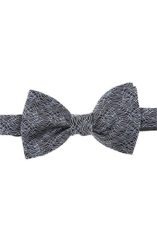 Галстук-бабочка LanvinГалстуки<br>Сшитый вручную галстук Pre-tied из классической коллекции бренда, основанного Жанной Ланван. Аксессуар традиционной формы Butterfly выполнен из текстурированного шелка черного цвета со светлым набивным рисунком.<br><br>Пол: Мужской<br>Возраст: Взрослый<br>Размер производителя vendor: NS<br>Материал: Шелк: 100%;<br>Цвет: Черный