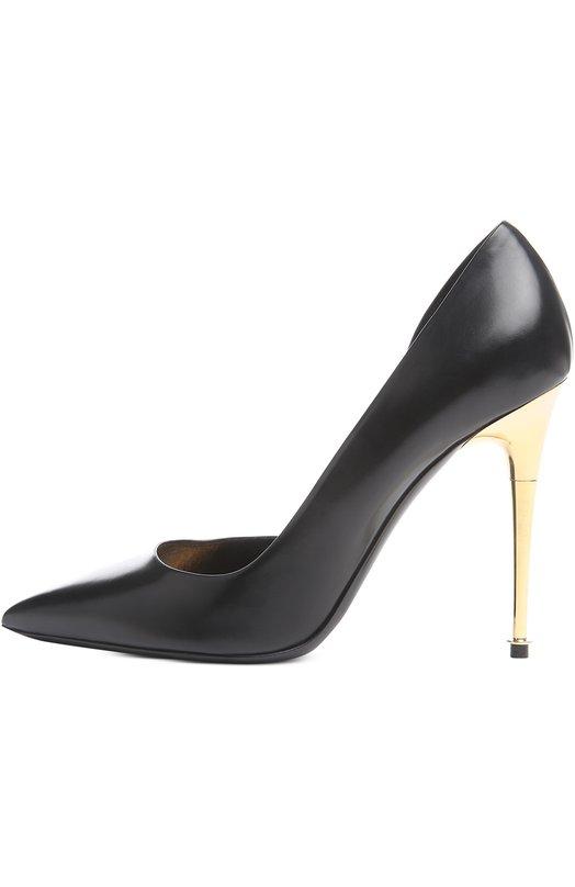 Кожаные туфли Metal Heel на шпильке Tom FordТуфли<br>Модель dOrsay дополнена фирменным высоким каблуком Spike из позолоченной стали. Том Форд включил туфли с зауженным мысом в коллекцию сезона осень-зима 2016 года. Для изготовления обуви мастера бренда использовали матовую гладкую кожу черного цвета.<br><br>Российский размер RU: 40<br>Пол: Женский<br>Возраст: Взрослый<br>Размер производителя vendor: 40<br>Материал: Кожа натуральная: 100%; Стелька-кожа: 100%; Подошва-кожа: 100%;<br>Цвет: Черный