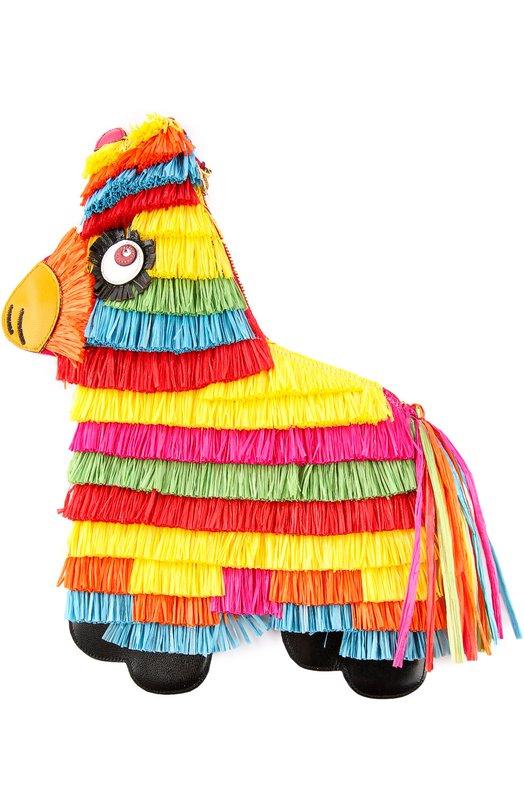 Сумка Pinata с разноцветной бахромой Charlotte OlympiaКлатчи и вечерние сумки<br>Шарлотт Олимпия Деллал создала клатч Pinata, вдохновившись традициями Мексики. Для изготовления сумки в форме пиньяты использована бархатистая замша, украшенная разноцветной бахромой. Аксессуар дополнен деталями из матовой кожи. В комплекте – съемный плечевой ремень-цепочка.<br><br>Пол: Женский<br>Возраст: Взрослый<br>Размер производителя vendor: NS<br>Материал: Отделка кожа натуральная: 100%; Замша натуральная: 100%; Рафия: 100%;<br>Цвет: Разноцветный