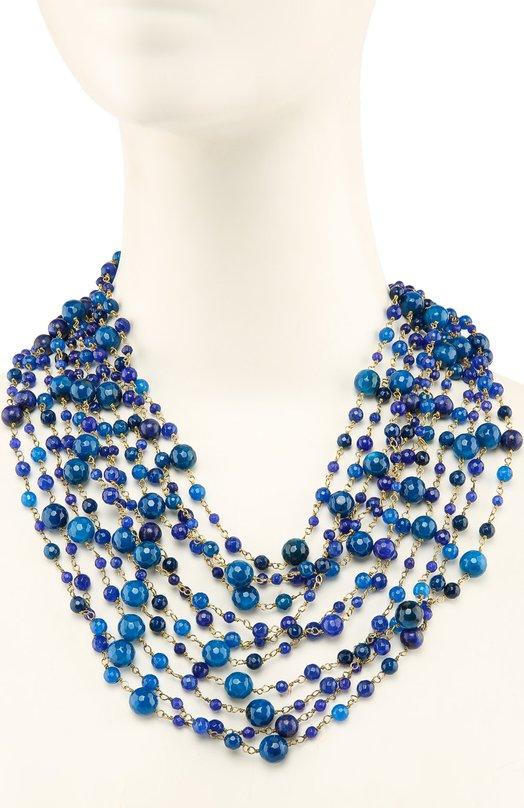 Колье RosanticaКолье<br><br><br>Пол: Женский<br>Возраст: Взрослый<br>Размер производителя vendor: NS<br>Материал: Недрагоценный металл; Агат; Магнит;<br>Цвет: Синий