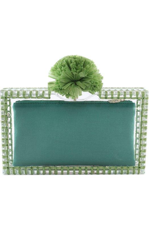 Клатч Pom Pom Pandora с отделкой из рафии Charlotte OlympiaКлатчи и вечерние сумки<br><br><br>Пол: Женский<br>Возраст: Взрослый<br>Размер производителя vendor: NS<br>Материал: Пластмасса: 80%; Рафия: 10%; Текстиль: 10%;<br>Цвет: Зеленый