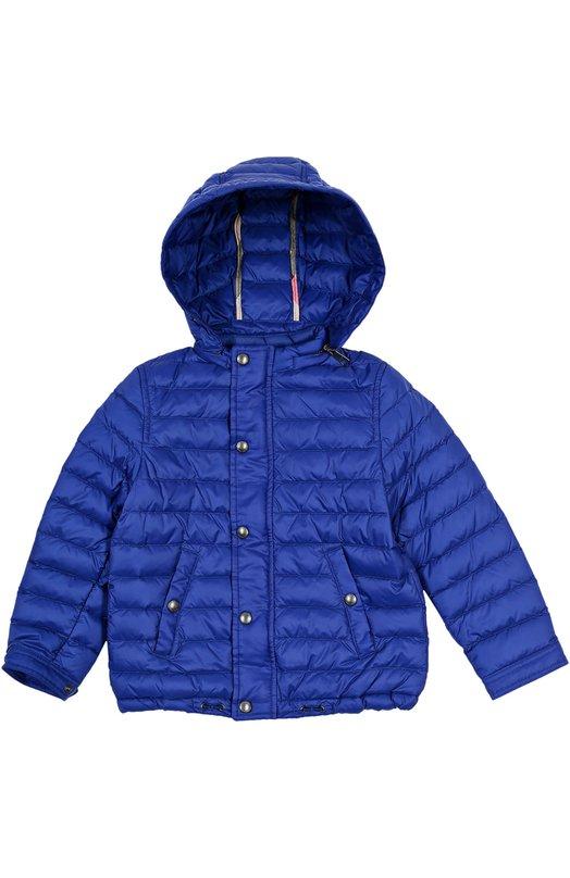 Куртка с капюшоном BurberryВерхняя одежда<br><br><br>Российский размер RU: 30<br>Пол: Мужской<br>Возраст: Детский<br>Размер производителя vendor: 4Y<br>Материал: Пух: 80%; Перо: 20%; Полиамид: 100%; Подкладка-полиамид: 100%;<br>Цвет: Синий