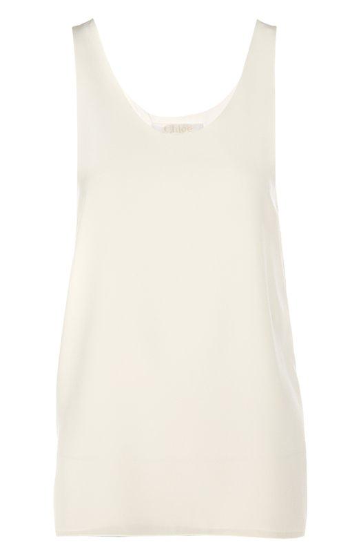 Топ Chlo?Топы<br>Белая шелковая блуза с подкладкой из эластичной ткани для комфортной посадки по фигуре. Модель прямого силуэта, без рукавов, с круглым вырезом вошла в классическую коллекцию бренда. Попробуйте сочетать носить с брюками или как часть многослойного образа, как советуют наши стилисты.<br><br>Российский размер RU: 42<br>Пол: Женский<br>Возраст: Взрослый<br>Размер производителя vendor: 36<br>Материал: Подкладка-ацетат: 70%; Подкладка-шелк: 30%; Шелк: 100%;<br>Цвет: Белый