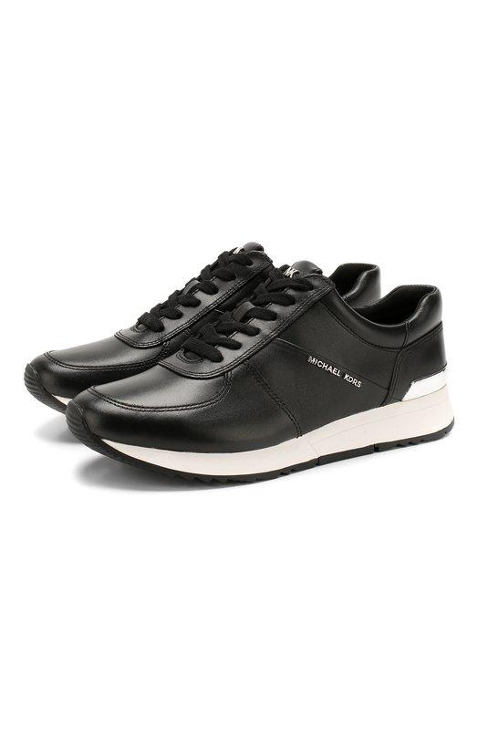 Купить Кожаные кроссовки Alison с декором MICHAEL Michael Kors, 43R5ALFP3L, Китай, Черный, Кожа натуральная: 100%; Стелька-кожа: 100%; Подошва-резина: 100%; Стелька-текстиль: 100%;