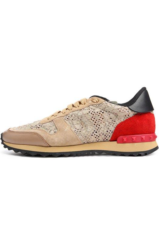 Кроссовки Lace Sneaker с кружевом ValentinoКеды<br>Кружевные кроссовки Lace Sneaker на шнуровке украшены вставками из прочной замши. Мыс и задник выполнены из матовой кожи. Модель из классической коллекции украшена резиновыми шипами-пирамидами, язычок – логотипом марки, основанной Валентино Гаравани.<br><br>Российский размер RU: 39<br>Пол: Женский<br>Возраст: Взрослый<br>Размер производителя vendor: 39-5<br>Материал: Вискоза: 6%; Нейлон: 6%; Полиэстер: 50%; Хлопок: 38%; Подошва-резина: 100%; Отделка кожа натуральная: 100%; Отделка замша натуральная: 100%;<br>Цвет: Бежевый