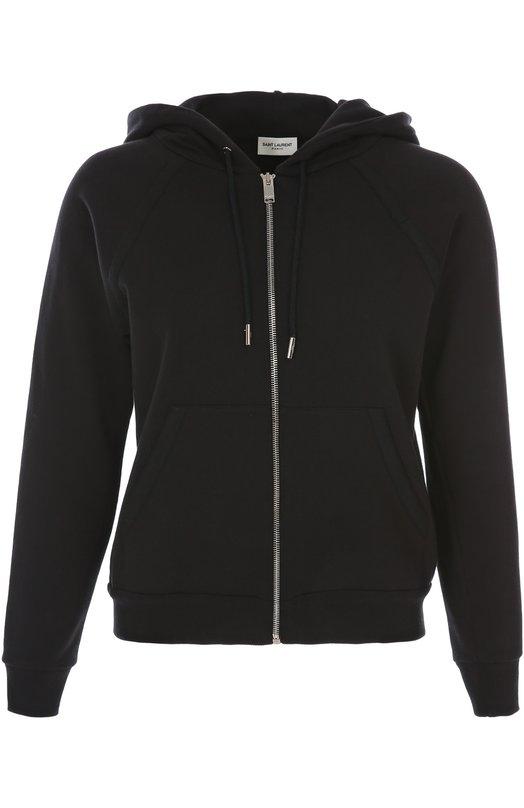 Спортивный кардиган Saint LaurentКардиганы<br>Олимпийка сшита из хлопкового трикотажа черного цвета. Модель с рукавом-регланом и капюшоном застегивается на серебристую молнию. Трикотажная резинка по нижнему краю куртки и низу рукавов. Модель вошла в классическую коллекцию бренда, основанного Ивом Сен-Лораном.<br><br>Российский размер RU: 44<br>Пол: Женский<br>Возраст: Взрослый<br>Размер производителя vendor: M<br>Материал: Хлопок: 100%;<br>Цвет: Черный