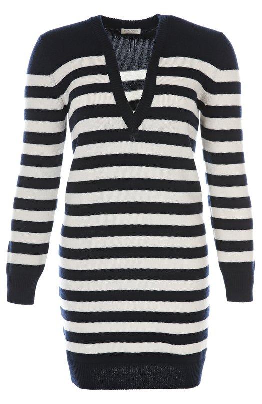 Вязаное платье Saint LaurentПлатья<br>Платье-свитер в контрастную полоску изготовлено из тонкого кашемира. Модель на каждый день с длинными рукавами и V-образным вырезом вошла в классическую коллекцию бренда, основанного Ивом Сен-Лораном. Рукава и низ изделия отделаны трикотажной резинкой.<br><br>Российский размер RU: 44<br>Пол: Женский<br>Возраст: Взрослый<br>Размер производителя vendor: M<br>Материал: Кашемир: 100%;<br>Цвет: Синий
