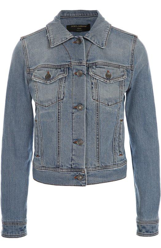 Джинсовая куртка Dolce &amp; GabbanaКуртки<br><br><br>Российский размер RU: 38<br>Пол: Женский<br>Возраст: Взрослый<br>Размер производителя vendor: 36<br>Материал: Хлопок: 99%; Эластан: 1%;<br>Цвет: Голубой