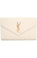 Сумка Monogram Envelope из стеганой кожи Saint Laurent белая | Фото №1