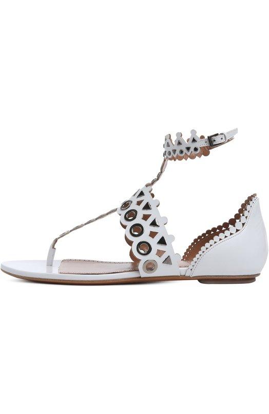 Кожаные сандалии с перфорацией Alaia 5S3Y323C/E10