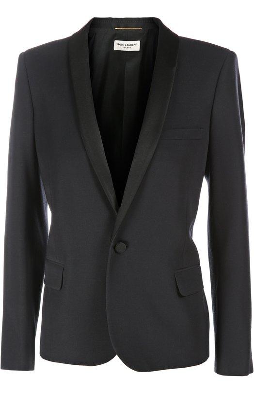 Купить Жакет-смокинг Saint Laurent, 370350/Y085G, Италия, Темно-синий, Подкладка-шелк: 100%; Шерсть: 100%; Полиэстер: 100%;