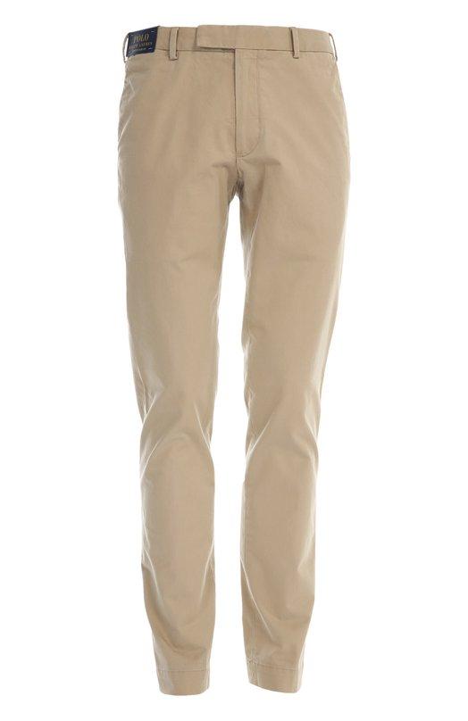 Брюки Polo Ralph LaurenБрюки<br>Ральф Лорен включил бежевые брюки из мягкого хлопка в классическую коллекцию марки. Модель прямого кроя застегивается на потайную молнию. Попробуйте носить с топсайдерами, рубашкой в клетку и пиджаком.<br><br>Российский размер RU: 54<br>Пол: Мужской<br>Возраст: Взрослый<br>Размер производителя vendor: 36-34<br>Материал: Хлопок: 98%; Спандекс: 2%;<br>Цвет: Бежевый