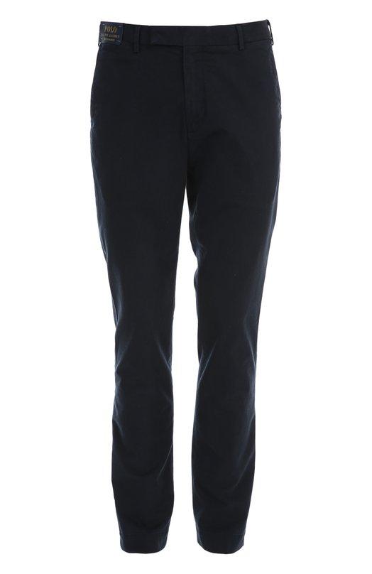 Брюки Polo Ralph LaurenБрюки<br>Мастера марки, основанной Ральфом Лореном, сшили брюки прямого кроя из темно-синего мягкого хлопка. Модель из осенне-зимней коллекции застегивается на потайную молнию и крючки. Рекомендуем сочетать с вязаным джемпером, пиджаком в клетку и топсайдерами.<br><br>Российский размер RU: 48<br>Пол: Мужской<br>Возраст: Взрослый<br>Размер производителя vendor: 33-34<br>Материал: Хлопок: 98%; Спандекс: 2%;<br>Цвет: Темно-синий