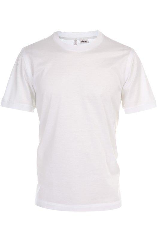 Хлопковая футболка с круглым вырезом BrioniФутболки<br><br><br>Российский размер RU: 56<br>Пол: Мужской<br>Возраст: Взрослый<br>Размер производителя vendor: XXXL<br>Материал: Хлопок: 100%;<br>Цвет: Белый