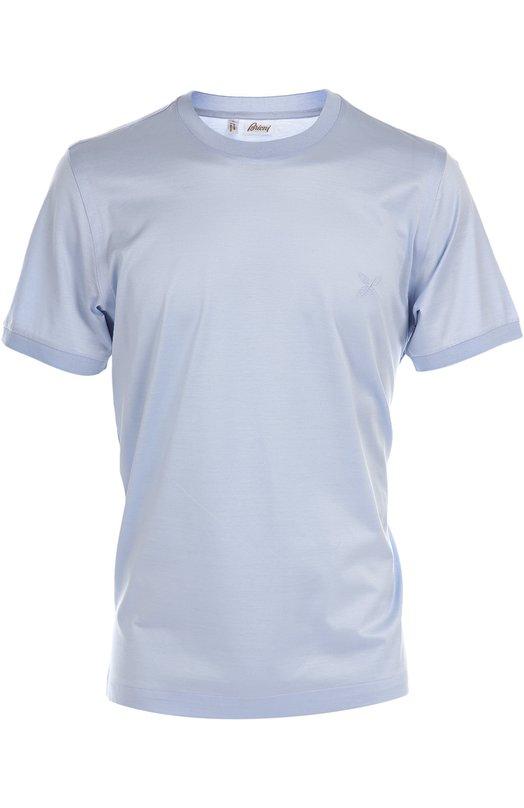 Хлопковая футболка с круглым вырезом BrioniФутболки<br><br><br>Российский размер RU: 58<br>Пол: Мужской<br>Возраст: Взрослый<br>Размер производителя vendor: XXXL<br>Материал: Хлопок: 100%;<br>Цвет: Светло-голубой
