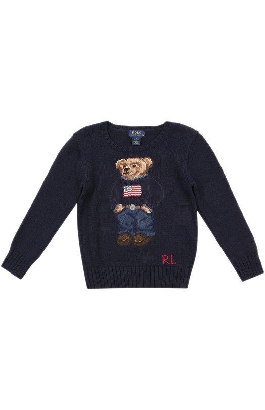 Пуловер Polo Ralph LaurenСвитеры<br><br><br>Российский размер RU: 34<br>Пол: Мужской<br>Возраст: Детский<br>Размер производителя vendor: 7<br>Материал: Хлопок: 68%; Лен: 32%; Отделка-хлопок: 100%;<br>Цвет: Синий