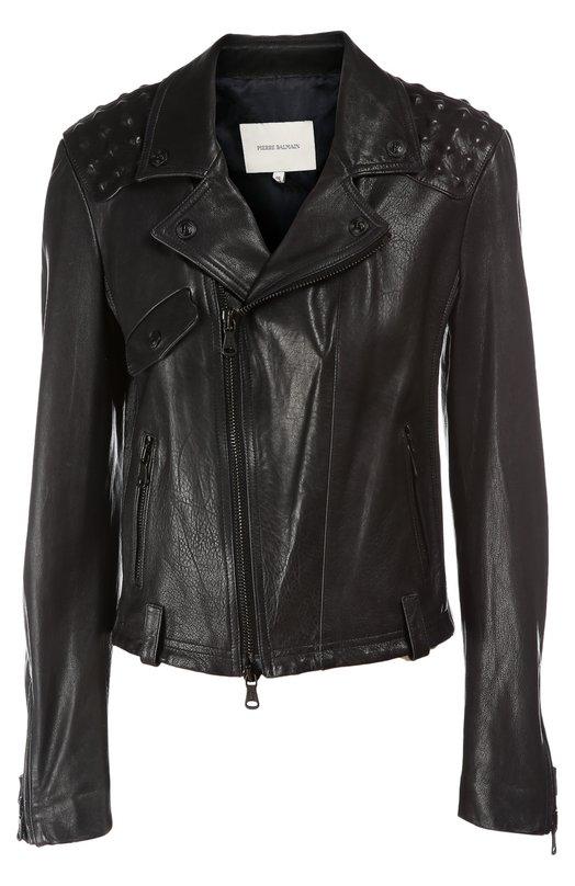 Куртка кожаная Pierre Balmain. Цвет: темно-синий
