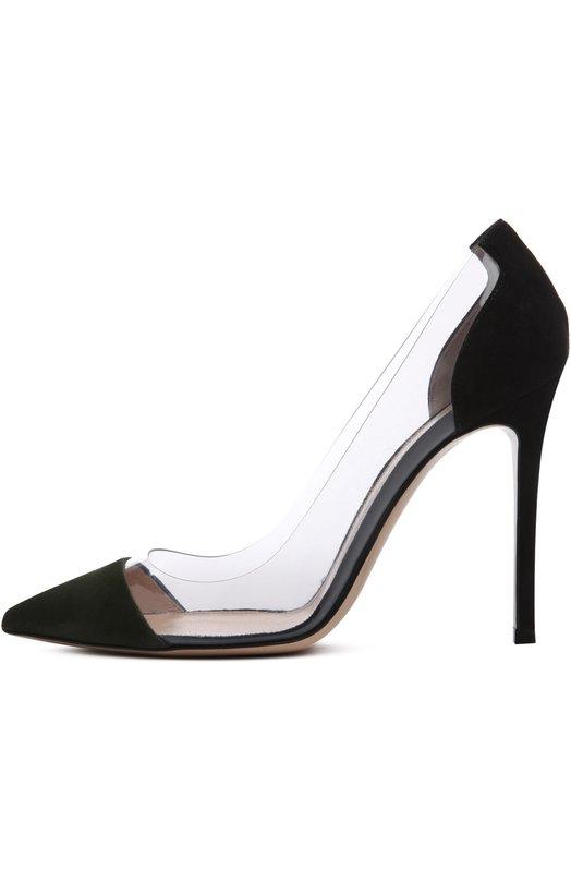 Замшевые туфли Plexi на шпильке Gianvito RossiТуфли<br>Джанвито Росси включил обновленную модель классических туфель-лодочек Plexi из мягкой замши темно-зеленого цвета в осенне-зимнюю коллекцию 2015 года. Обувь дополнена боковыми вставками из прозрачного плексигласа, давшего название этой линии.<br><br>Российский размер RU: 39<br>Пол: Женский<br>Возраст: Взрослый<br>Размер производителя vendor: 39<br>Материал: Стелька-кожа: 100%; Подошва-кожа: 100%; Замша натуральная: 100%; Плексиглас: 100%;<br>Цвет: Темно-зеленый