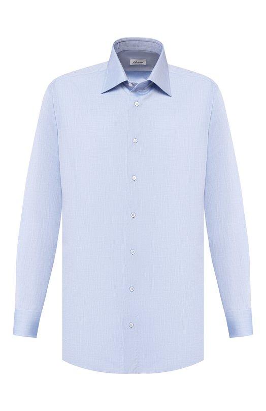 Сорочка BrioniРубашки<br>Модель из классической коллекции сшита вручную из тонкого хлопка высочайшего качества. Сорочка нероского голубого цвета с классическим воротником. Наши стилисты рекомендуют носить с темно-синим деловым костюмом.<br><br>Российский размер RU: 43<br>Пол: Мужской<br>Возраст: Взрослый<br>Размер производителя vendor: 43<br>Материал: Хлопок: 100%;<br>Цвет: Синий