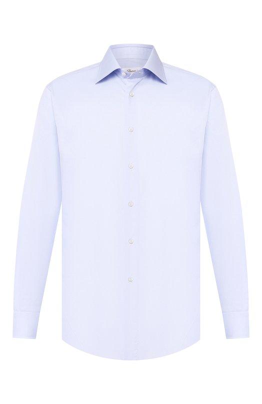Купить Хлопковая сорочка с воротником кент Brioni, RCL9/PZ034, Италия, Голубой, Хлопок: 100%;