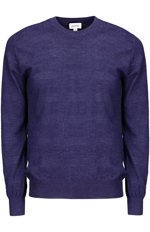 Вязаный пуловер BrioniСвитеры<br><br><br>Российский размер RU: 50<br>Пол: Мужской<br>Возраст: Взрослый<br>Размер производителя vendor: 48<br>Материал: Шерсть: 40%; Кашемир: 30%; Шелк: 30%;<br>Цвет: Синий