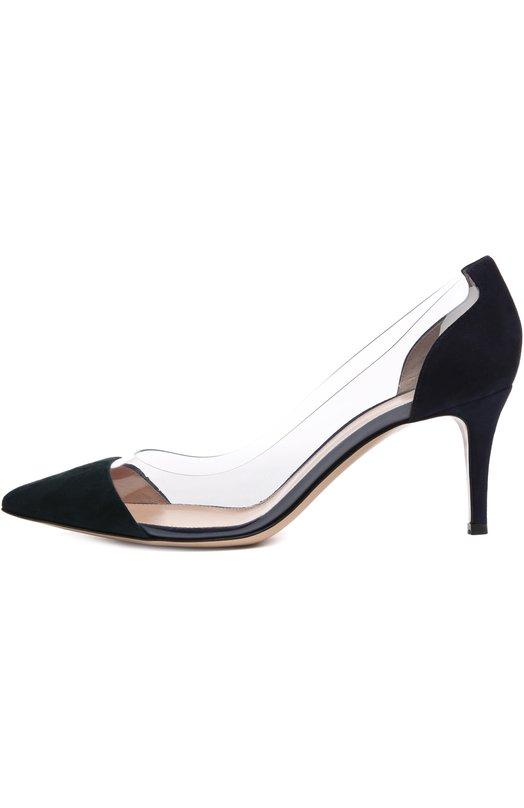 Замшевые туфли Plexi на шпильке Gianvito RossiТуфли<br>Обувь вошла в осенне-зимнюю коллекцию бренда, основанного Джанвито Росси. Туфли-лодочки Plexi дополнены прозрачными боковыми вставками из плексигласа, давшего название этой линии. Модель с зауженным мысом, на шпильке средней высоты сшита вручную из мягкой замши темно-зеленого цвета.<br><br>Российский размер RU: 36<br>Пол: Женский<br>Возраст: Взрослый<br>Размер производителя vendor: 36<br>Материал: Замша натуральная: 70%; Пластмасса: 30%; Стелька-кожа: 100%; Подошва-кожа: 100%;<br>Цвет: Темно-зеленый