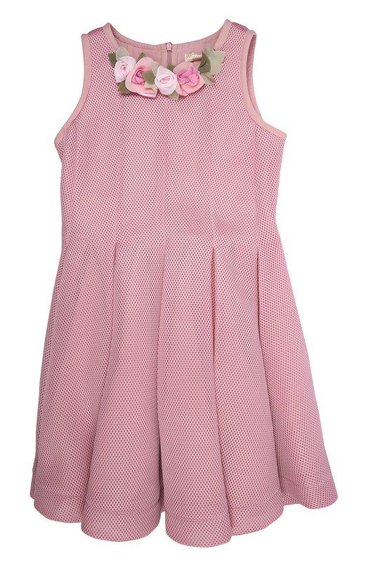 Платье с брошью MonnalisaПлатья<br><br><br>Российский размер RU: 32<br>Пол: Женский<br>Возраст: Детский<br>Размер производителя vendor: XS<br>Материал: Полиэстер: 100%; Подкладка-хлопок: 100%;<br>Цвет: Розовый