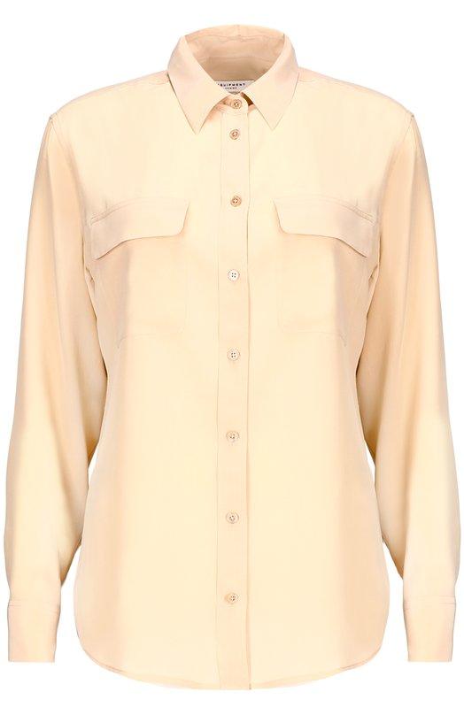 Блуза EquipmentБлузы<br>Классическая блуза с длинными рукавами и отложным воротником выполнена из мягкого шелка бежевого цвета. Модель свободного кроя дополнена накладными карманами с клапанами. Центральная планка и манжеты застегиваются на пуговицы.<br><br>Российский размер RU: 42<br>Пол: Женский<br>Возраст: Взрослый<br>Размер производителя vendor: S<br>Материал: Шелк: 100%; шелк: 100%;<br>Цвет: Бежевый