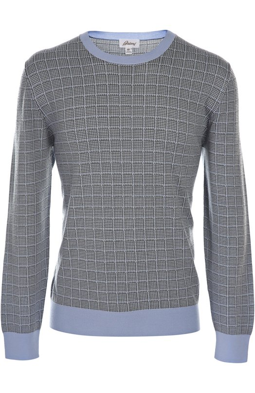 Вязаный пуловер BrioniСвитеры<br><br><br>Российский размер RU: 56<br>Пол: Мужской<br>Возраст: Взрослый<br>Размер производителя vendor: 54<br>Материал: Шерсть: 55%; Шелк: 45%;<br>Цвет: Светло-голубой