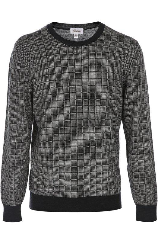 Вязаный пуловер BrioniСвитеры<br><br><br>Российский размер RU: 58<br>Пол: Мужской<br>Возраст: Взрослый<br>Размер производителя vendor: 56<br>Материал: Шерсть: 55%; Шелк: 45%;<br>Цвет: Темно-синий