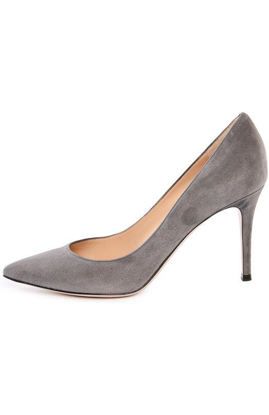 Замшевые туфли Gianvito 85 на шпильке Gianvito RossiТуфли<br>Модель Gianvito 85 представлена с разной высотой каблука. Джанвито Росси включил в классическую коллекцию марки серые туфли-лодочки со шпилькой средней высоты. Мастера бренда изготовили обувь из мягкой замши.<br><br>Российский размер RU: 37<br>Пол: Женский<br>Возраст: Взрослый<br>Размер производителя vendor: 37<br>Материал: Стелька-кожа: 100%; Подошва-кожа: 100%; Замша натуральная: 100%;<br>Цвет: Серый