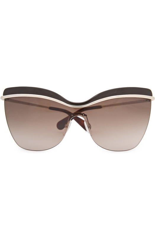 Солнцезащитные очки Marc JacobsОчки<br>Солнцезащитные очки в рамочной оправе из темного ацетата и позолоченного металла дополнены градиентными коричневыми линзами с максимальной степенью защиты от УФ-лучей. Тонкие дужки с пластиковыми заушниками украшены выгравированным логотипом бренда, основанного Марком Джейкобсом.<br><br>Пол: Женский<br>Возраст: Взрослый<br>Размер производителя vendor: NS<br>Цвет: Бесцветный