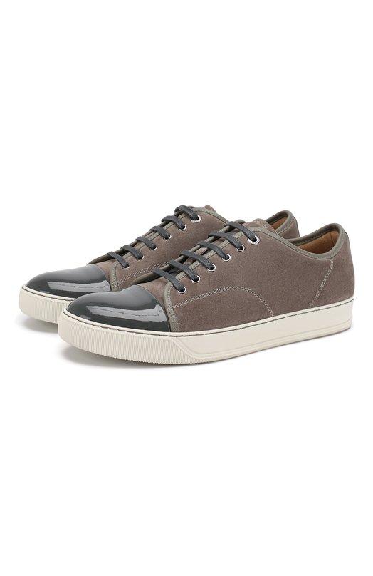 Кеды LanvinКеды<br>Для производства обуви мастера бренда, основанного Жанной Ланван, использовали комбинацию фактурной светло-серой замши и лакированной кожи темно-серого цвета. Гибкая подошва выполнена из легкой пластичной резины.<br><br>Российский размер RU: 41<br>Пол: Мужской<br>Возраст: Взрослый<br>Размер производителя vendor: 7<br>Материал: Стелька-кожа: 100%; Подошва-резина: 100%; Отделка кожа натуральная: 100%; Замша натуральная: 100%;<br>Цвет: Светло-серый