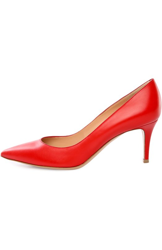 Кожаные туфли Gianvito 70 на шпильке Gianvito RossiТуфли<br>Для производства классических туфель-лодочек с зауженным мысом мастера бренда, основанного Джанвито Росси, была использована матовая кожа красного цвета. Дизайнер дополнил лаконичную модель невысоким тонким каблуком.<br><br>Российский размер RU: 38<br>Пол: Женский<br>Возраст: Взрослый<br>Размер производителя vendor: 38<br>Материал: Кожа натуральная: 100%; Стелька-кожа: 100%; Подошва-кожа: 100%;<br>Цвет: Красный