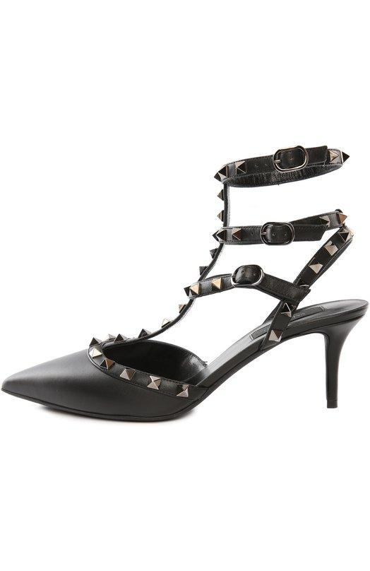 Кожаные туфли Rockstud Noir на шпильке Valentino