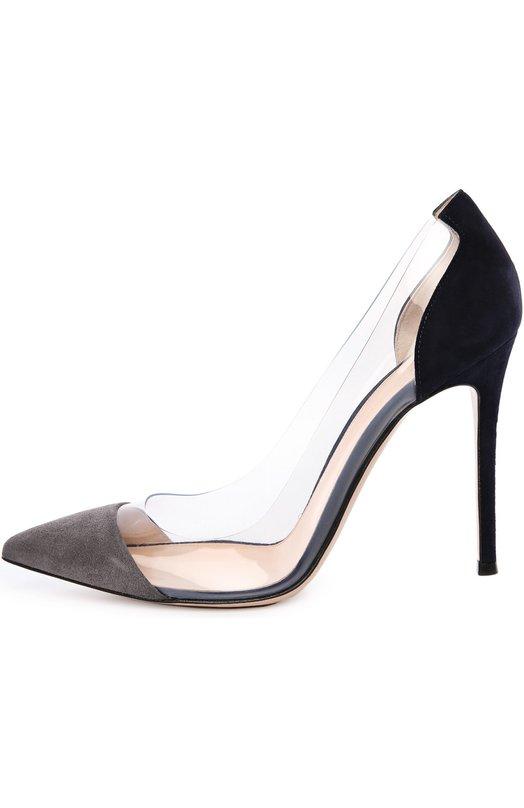 Замшевые туфли Plexi на шпильке Gianvito RossiТуфли<br>Джанвито Росси включил серые туфли-лодочки на высокой шпильке в осенне-зимнюю коллекцию 2015 года. Модель с прозрачными боковыми вставками из плексигласа, давшего название линии, сшиты из мягкой замши ручной выделки.<br><br>Российский размер RU: 34<br>Пол: Женский<br>Возраст: Взрослый<br>Размер производителя vendor: 34<br>Материал: Стелька-кожа: 100%; Подошва-кожа: 100%; Замша натуральная: 100%; Плексиглас: 100%;<br>Цвет: Серый
