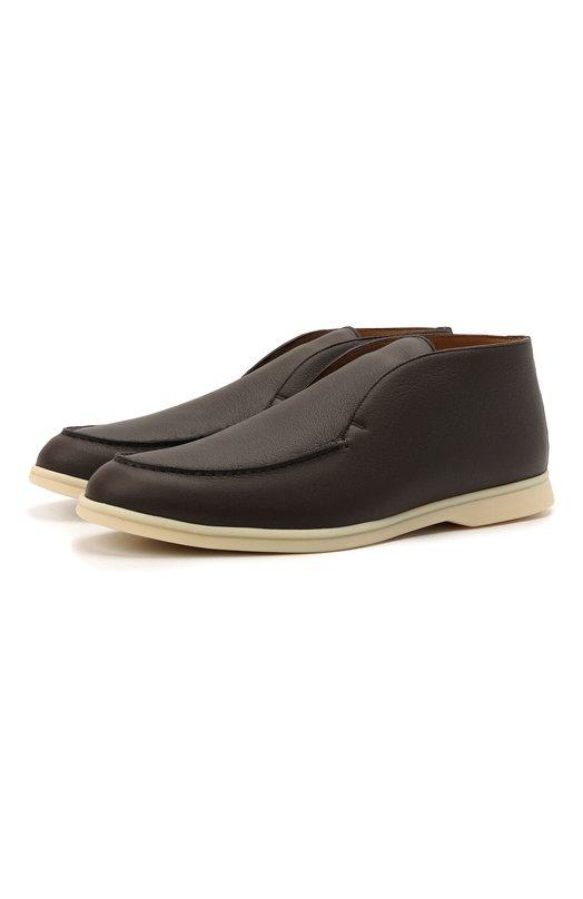 Купить Кожаные ботинки Open Walk без шнуровки Loro Piana, FAE0021, Италия, Темно-коричневый, Кожа натуральная: 100%; Стелька-кожа: 100%; Подошва-резина: 100%;