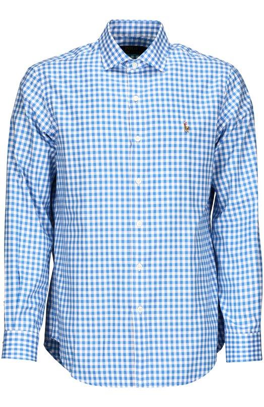 Рубашка Polo Ralph LaurenРубашки<br>Голубая клетчатая рубашка из легкого хлопка вошла в коллекцию сезона осень-зима 2015 года. Модель прямого кроя с воротником кент украшена трехцветной вышивкой в виде логотипа бренда, основанного Ральфом Лореном.<br><br>Российский размер RU: 54<br>Пол: Мужской<br>Возраст: Взрослый<br>Размер производителя vendor: XL<br>Материал: Хлопок: 100%;<br>Цвет: Голубой
