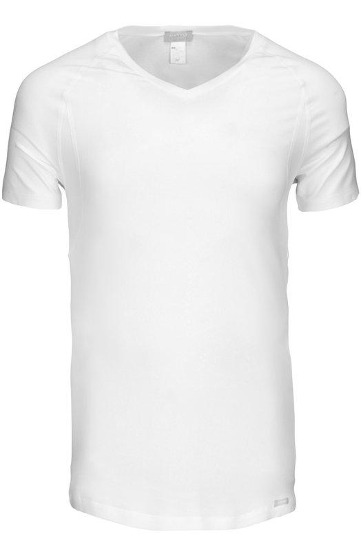 Футболка HanroФутболки<br>Классическая белая футболка изготовлена мастерами марки из немнущейся эластичной ткани. Облегающая модель с V-образным вырезом дополнена короткими рукавами. Изделие может стать основой базового гардероба.<br><br>Российский размер RU: 48<br>Пол: Мужской<br>Возраст: Взрослый<br>Размер производителя vendor: M<br>Материал: Вискоза: 94%; Эластан: 6%;<br>Цвет: Белый