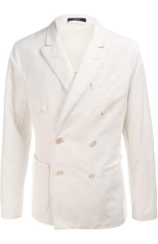 Пиджак Polo Ralph LaurenПиджаки<br>При производстве двубортного пиджака мастера бренда, основанного Ральфом Лореном, использовали плотную белую ткань. Наши стилисты рекомендуют сочетать модель из осенне-зимней коллекции 2015 года с серой футболкой, черными зауженными брюками и кожаными лоферами.<br><br>Российский размер RU: 48<br>Пол: Мужской<br>Возраст: Взрослый<br>Размер производителя vendor: M<br>Материал: Лен: 58%; Подкладка-хлопок: 55%; Подкладка-вискоза: 45%; Хлопок: 42%;<br>Цвет: Белый