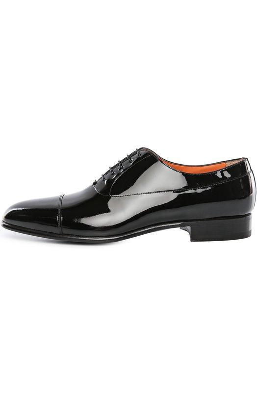 Туфли SantoniТуфли<br>В классическую коллекцию вошли черные оксфорды с миндалевидным мысом, на небольшом широком каблуке. При производстве модели мастера бренда, основанного семьей Сантони, использовали лакированную кожу. Рекомендуем дополнять такой обувью смокинг.<br><br>Российский размер RU: 41<br>Пол: Мужской<br>Возраст: Взрослый<br>Размер производителя vendor: 7<br>Материал: Кожа натуральная: 100%; Стелька-кожа: 100%; Подошва-кожа: 100%;<br>Цвет: Черный