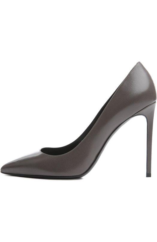 Туфли Saint LaurentТуфли<br>Элегантные туфли Paris Skinny вошли в коллекцию сезона осень-зима 2015 года. Мастера бренда, основанного Ивом Сен-Лораном, использовали при изготовлении этой пары гладкую кожу серого цвета с матовым блеском. Высокий тонкий каблук обтянут кожей.<br><br>Российский размер RU: 34<br>Пол: Женский<br>Возраст: Взрослый<br>Размер производителя vendor: 34-5<br>Материал: Кожа натуральная: 100%; Стелька-кожа: 100%; Подошва-кожа: 100%;<br>Цвет: Серый