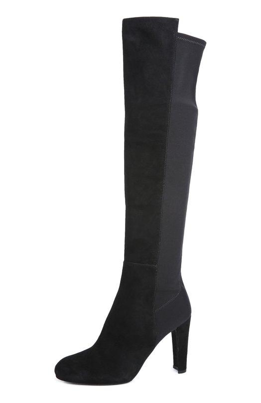 Купить Замшевые сапоги Demitone на устойчивом каблуке Stuart Weitzman, DEMIT0NE/SUEDE, Испания, Черный, Стелька-кожа: 100%; Подошва-резина: 100%; Замша натуральная: 100%; Текстиль: 100%;